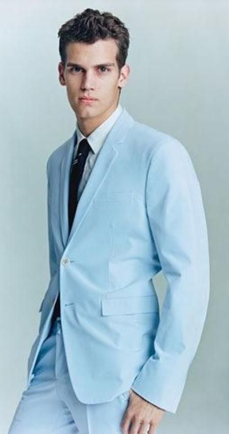 SKU#AS523 2 Button Sky Blue (Powder blue) Suit $149 Mens Discount Suits By Style and Quality 2 Button Suits