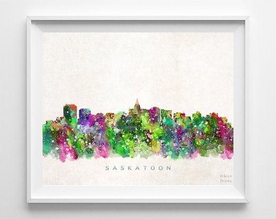 Saskatoon Skyline Print Saskatchewan Print by InkistPrints on Etsy