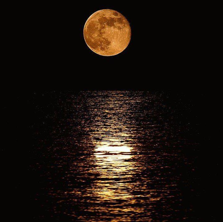 Moon over the Ocean as seen from Miami Beach