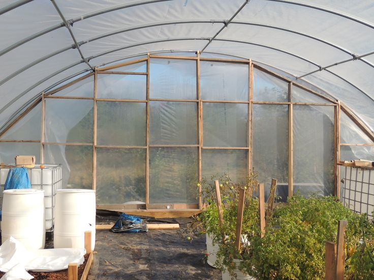 Greenhouse Plastic Installed on Back End Wall