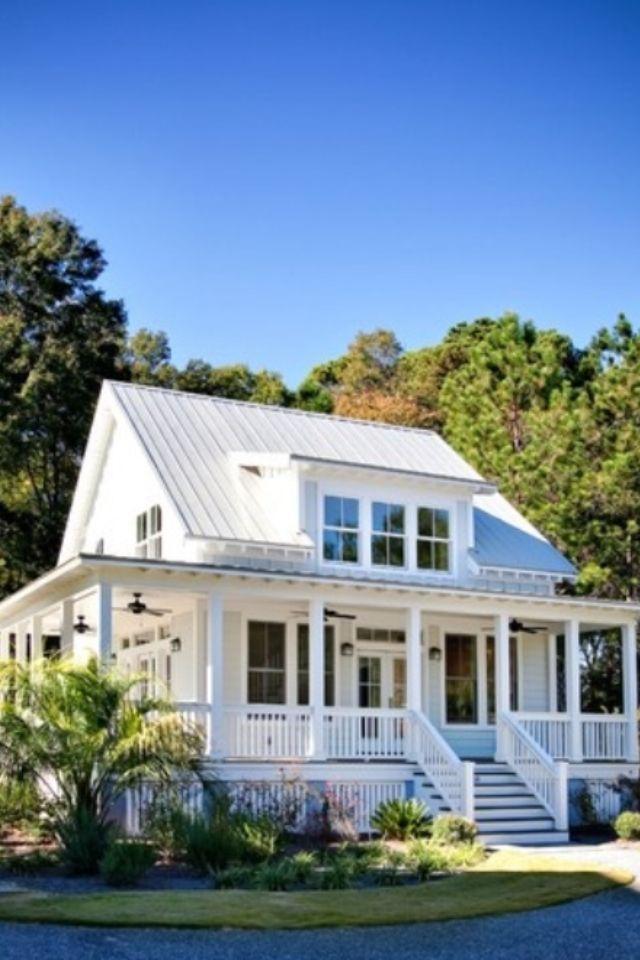 Light Metal Roof White Siding Farmhouse Pinterest