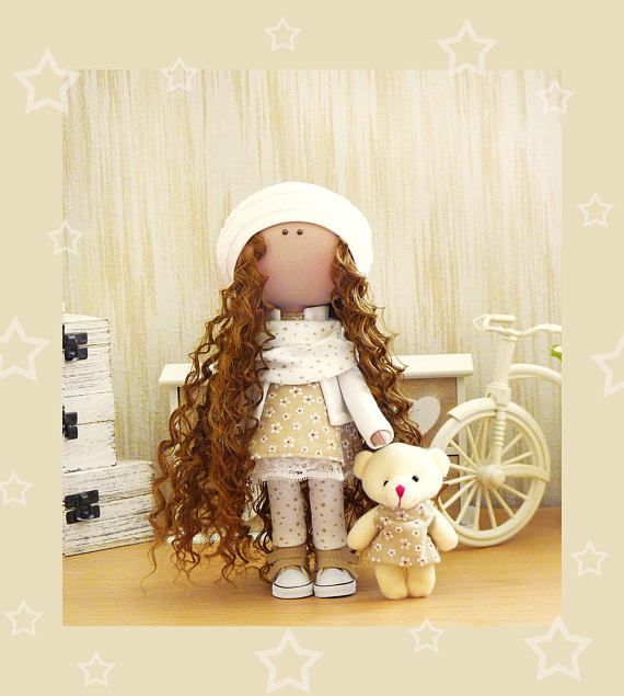 Fabric Doll Handmade Doll Textile Doll Rag Doll Decoration Doll Interior Doll Handmade Toy Cloth Doll Decor Doll Doll with bear Art Doll