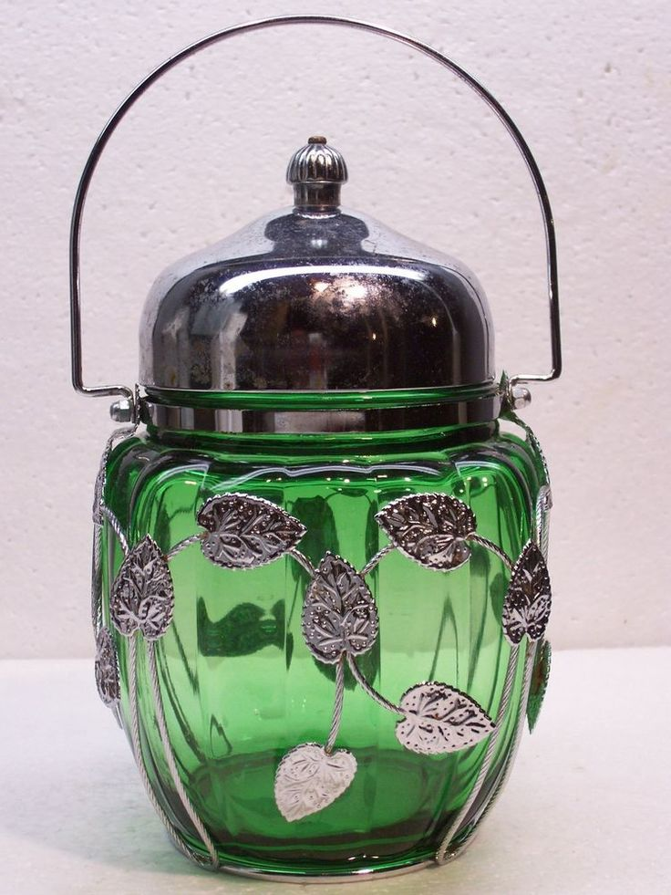 Vintage Green Glass Musical Biscuit Jar Lid Amp Leaves Made