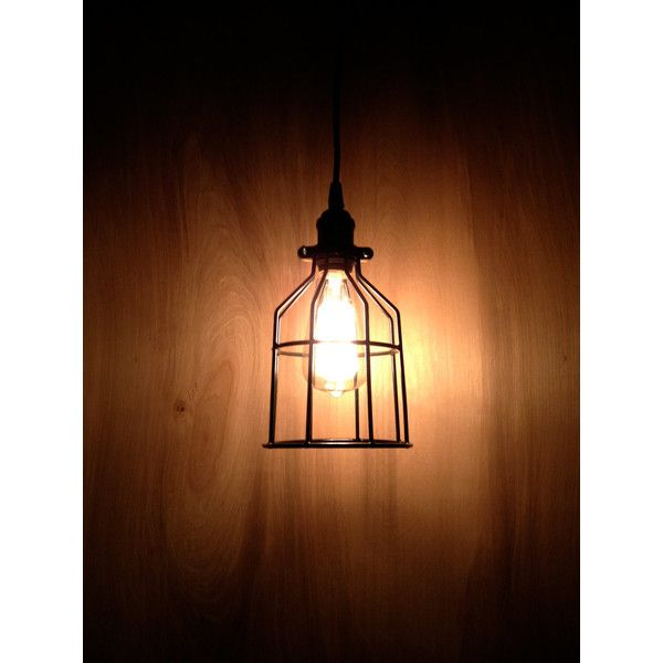 Industrial Pendant Light, Black Metal Cage, Modern Pendant, Minimal... ($49) ❤ liked on Polyvore featuring home, lighting, ceiling lights, colored lights, wall-mounted lamps, black pendant lighting, colored pendant lights and black pendant light