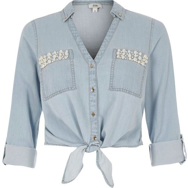 River Island Light blue embellished cropped denim shirt ($70) ❤ liked on Polyvore featuring tops, blue, shirts, women, denim crop top, v-neck shirt, light blue shirt, light blue crop top and blue top