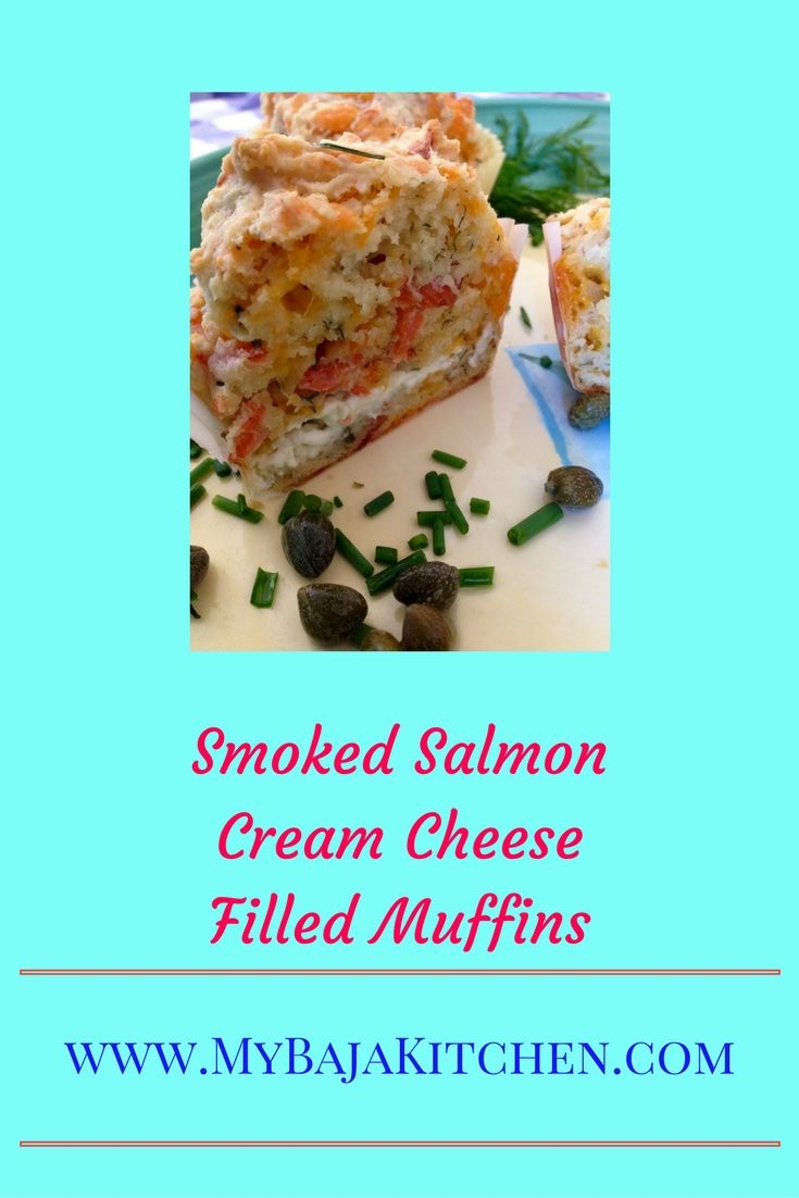 #Smoked salmon savory cream cheese muffins. #Brunch, #seafood appetizer