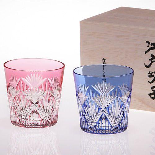 Edo Kiriko Beautiful Pair glass Traditional craftsman Bamboo grass
