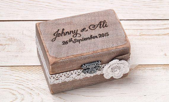 Ring Bearer Box Wedding Ring Box por InesesWeddingGallery en Etsy