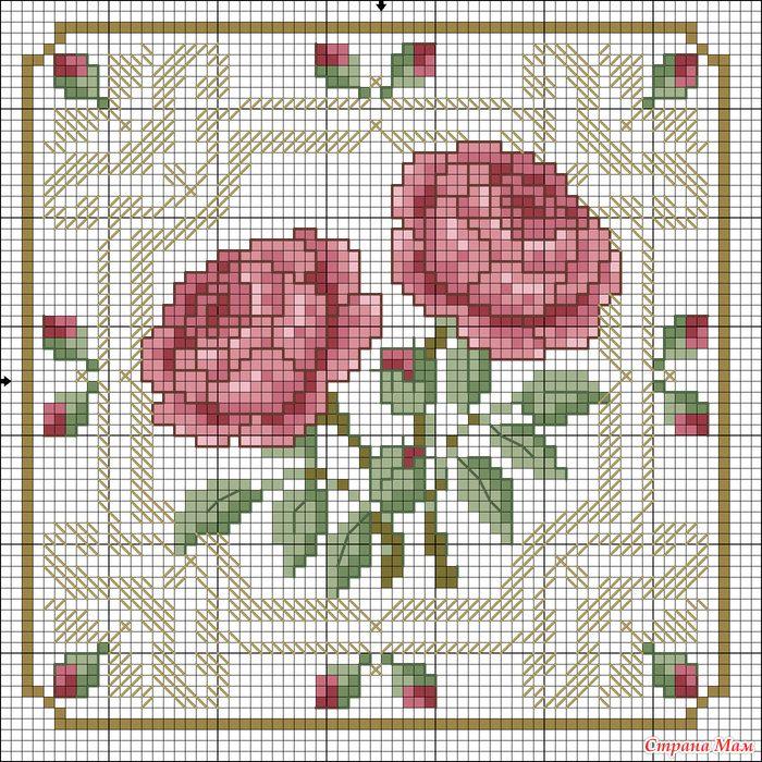 Damask Rose cross stitch chart #embroidery