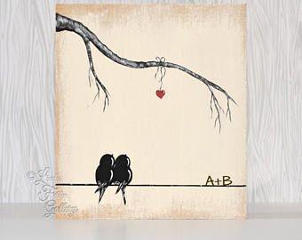Cadeau rustique pour mari amour cadeau bois signe l'amour amour peinture oiseau oiseaux arbre 5ème cadeau d'anniversaire pour son cadeau de mariage personnalisé pour Couple #anniversarygifts