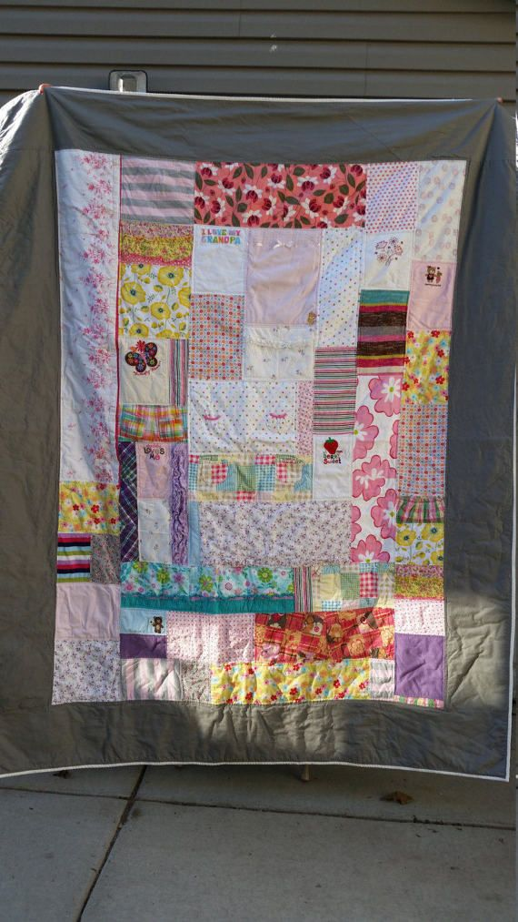 #mollyrosequilts #t-shirtquilts #tshirtquilts #memoryquilt Memory Quilt Baby's First Year Quilt by MollyRoseQuilts on Etsy