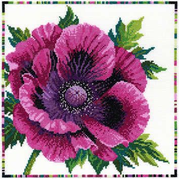Purple Poppy - Garden Flowers (XGF1)  Floral cross stitch kit designed by Lesley Teare for Bothy Threads. The design uses full cross stitch only and are embellished with beads.  Contents: 14 count white Zweigart aida, pre-sorted stranded cottons, beads, needle, chart and full instructions.  Size: 26cm x 26cm.  RRP £27.49  See more new cross stitch kits by Bothy Threads