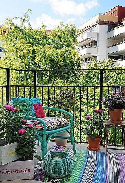Get trendy with aqua chairs and brightly coloured plants. #UrbanBalcony
