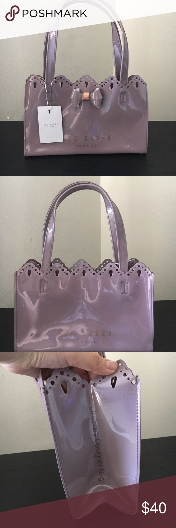 🎀 Ted Baker scallop micro bow item tote 🎀 Authentic Ted Baker tote bag, rose gold detail. 100% polyvinyl chloride. Ted Baker London Bags Totes