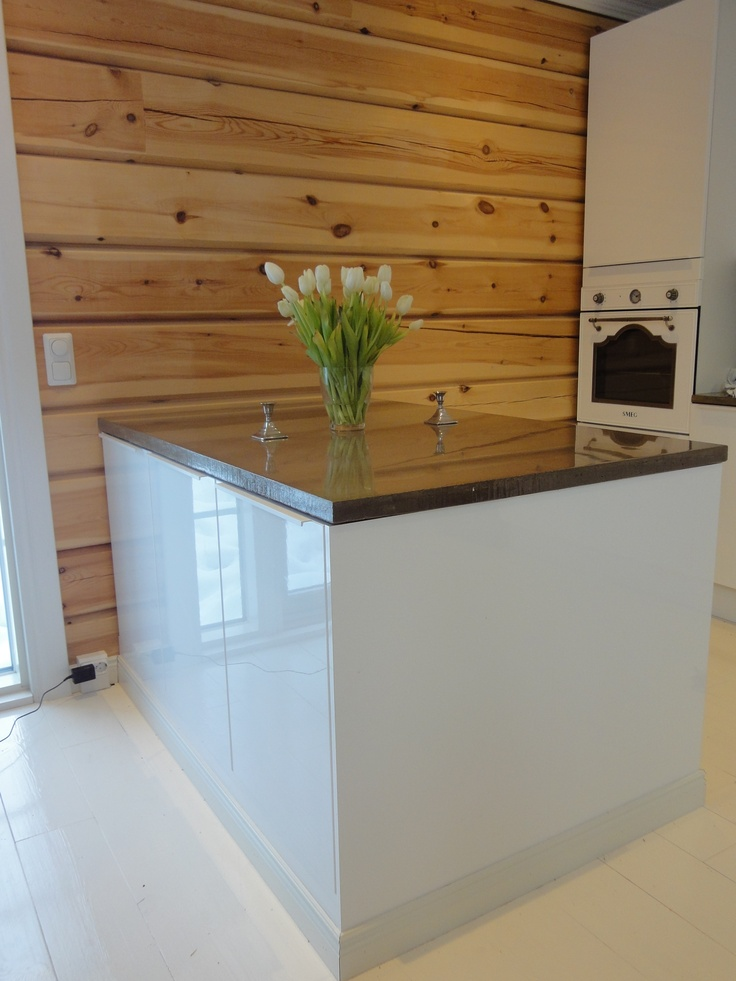 Concrete countertop. by me #Concrete #Countertop #White #Kitchen