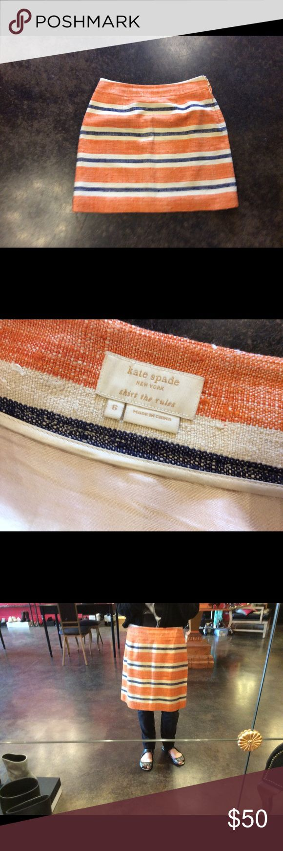 """Kate Spade orange cream silk skirt 6 """"skirt rules"""" Lovely... no signs of wear probably was not. Waist 31"""" hips 36"""" length 18"""". No trades Price is firm offers not accepted kate spade Skirts Mini"""