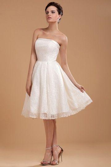 Lace Embroidery Strapless Zipper Short Wedding Dress Dressesmall