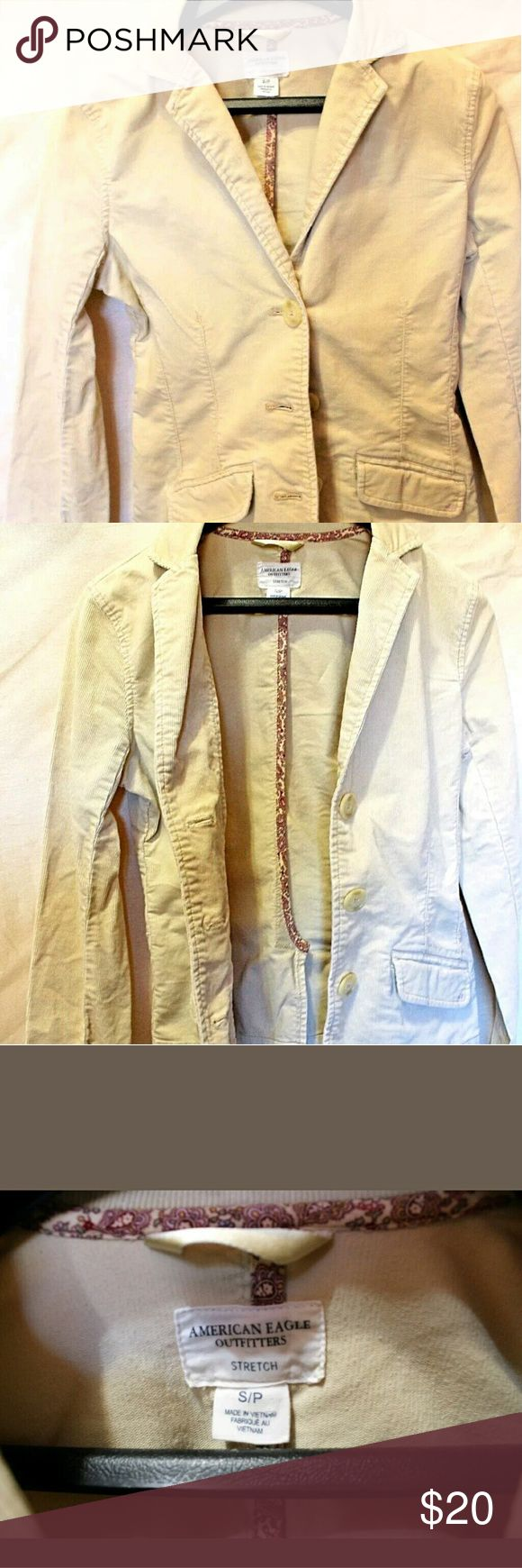 Cream colored American Eagle Outfitters Jacket Beautiful creme colored American Eagle jacket  Excellent condition Smoke free home American Eagle Outfitters Jackets & Coats