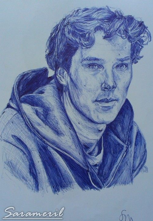 Benedick Cumberbatch portrait with pen