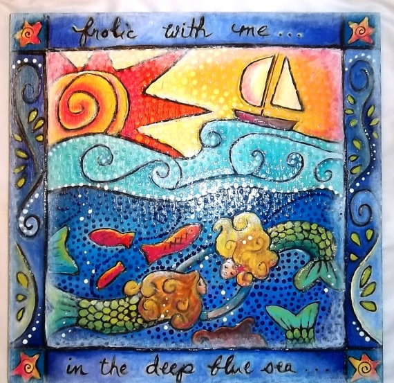 Swimming Mermaids with Sun and Sailboat 12x12 by SummerHouseGal, $70.00