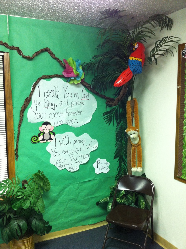Jungle Jaunt-- Decorations   Cool idea for our Bible verse