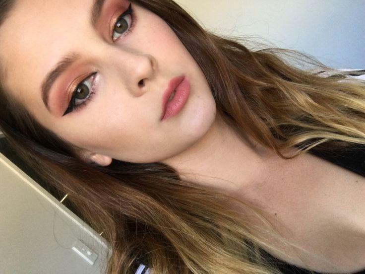 Light orange and pink spring makeup