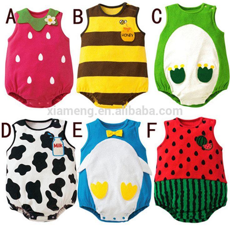 Wholesale cute animal sleeveless newborn baby jumpsuit organic baby clothes summer romper