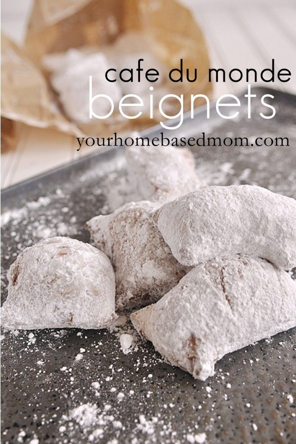 Cafe Du Monde Beignets. MAde with active dry yeast, warm water, sugar, salt, eggs, evaporated milk, flour, vegetable shortening, oil, and powdered sugar.