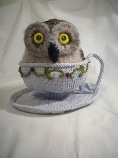 This is a fun pattern that I developed in order to translate into knitting an original artist's drawing done by artist and children's book author, Timothy Bush. Gauge is unimportant for this decorative and whimsical item. You could knit just the teacup and saucer or just the owl if you like.