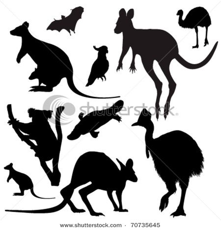 Aussie animal silhouettes