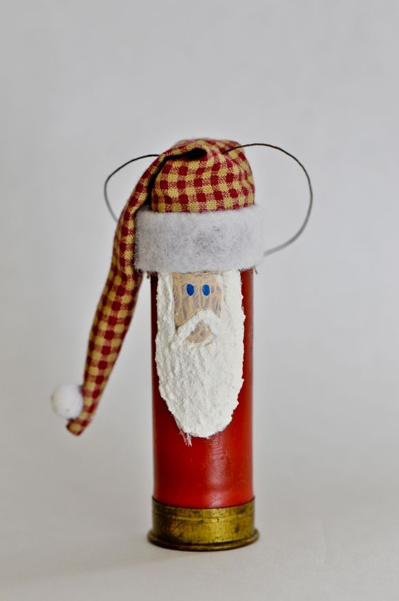 (Empty shotgun shell santa ornament)