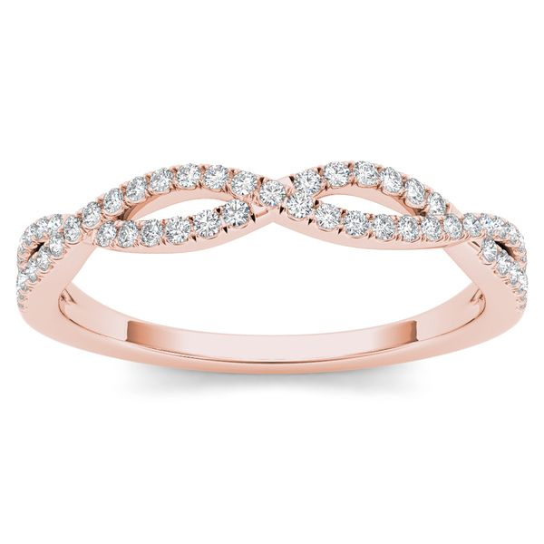 De Couer 10k Rose Gold 1/6ct TDW Diamond Criss-Cross Ring (H-I, I2)