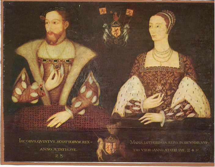 The parents of Mary, Queen of Scots: James V Stuart, King of Scots, and Marie of Guise-Lorraine ca. 1542. James V died when his daughter was only six days old. She was officially crowned nine months later, though Scotland was ruled by regents until she assumed the throne in her own right at the age of nineteen.
