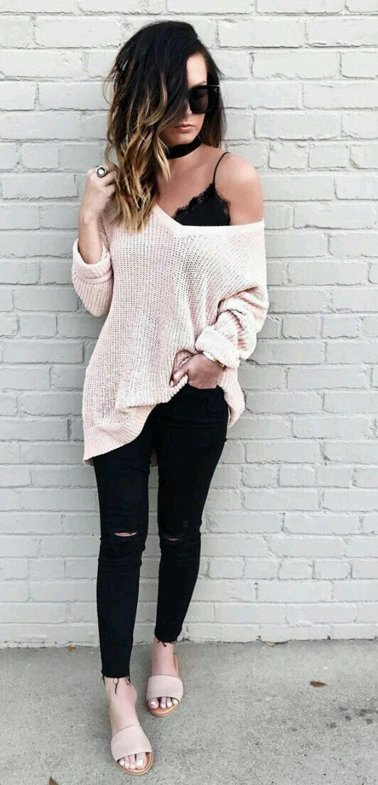 c5500e9f923d4 Blush oversized sweater with bralette.