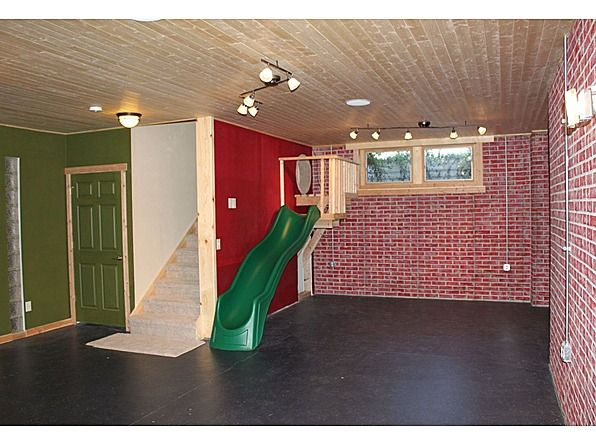 """A slide built into the basement stairway! Oh cute...kids and """"kids-at-heart"""" would love that! If we ever have a basement."""