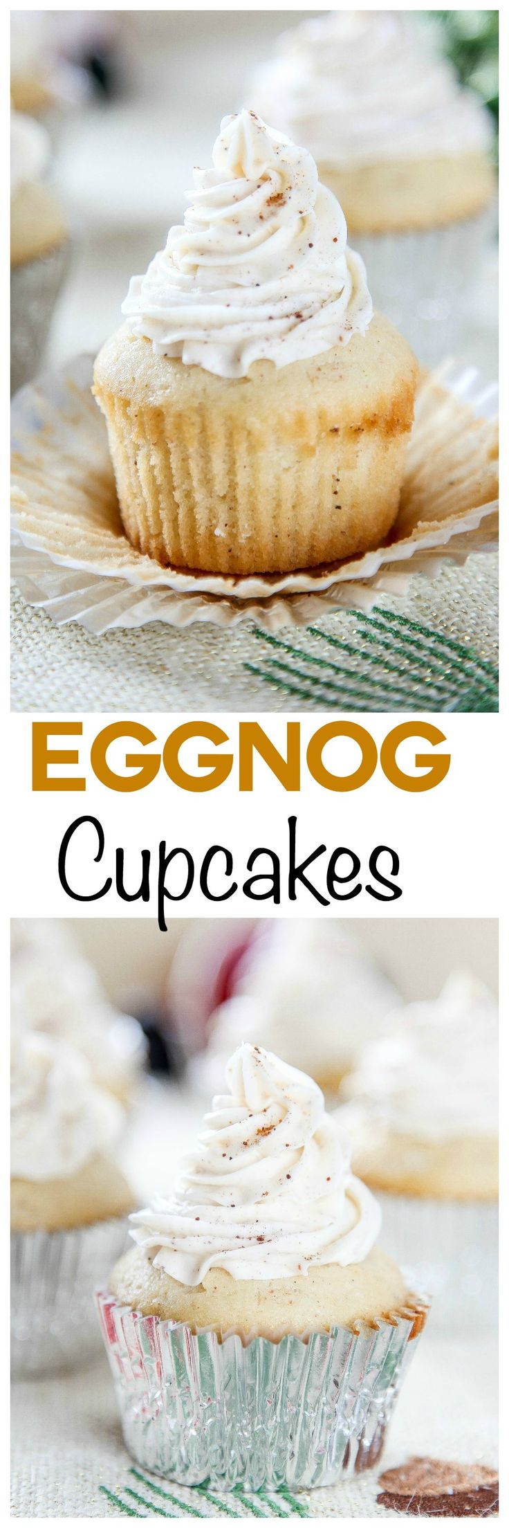 Homemade Eggnog Cupcakes:Moist eggnog cupcakes topped with a decadent eggnog frosting. Your favorite Christmas drink in cupcake form!