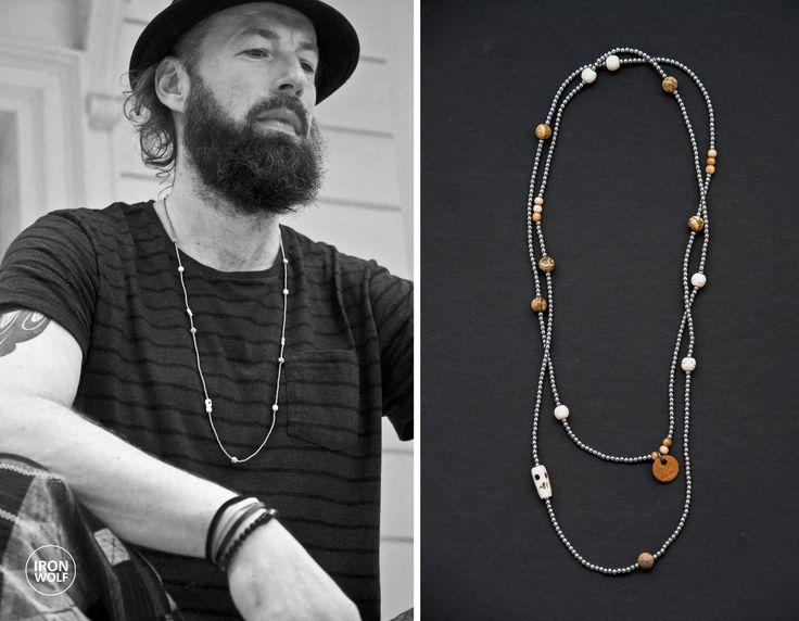 Silver Hematite Jasper Bone Wood necklace / Bone Skull