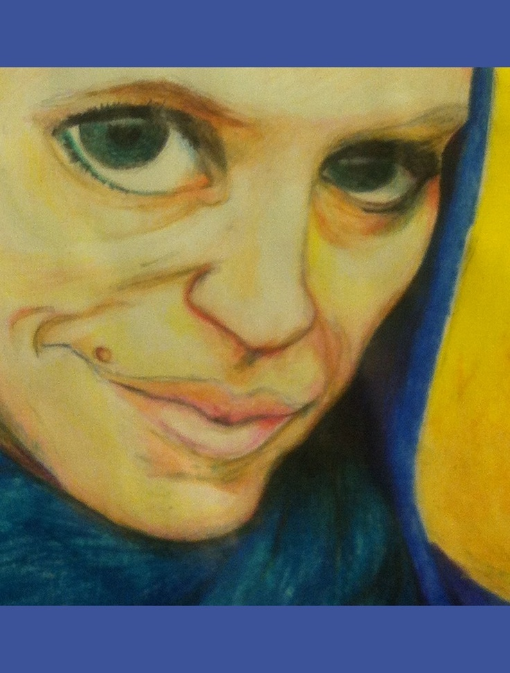 selfportrait, crayons on paper,  Ida Exner 2012