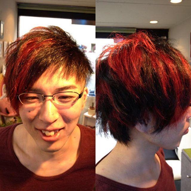 Junkoさんはinstagramを利用しています アシメカットでアシメカラー 美容師 美容院 美容室 アシメスタイル アシンメトリー アシメカット アシメカラー マニパニ マニックパニック ブリーチ ヴァンパイア レッド 美容師 マニックパニック 美容