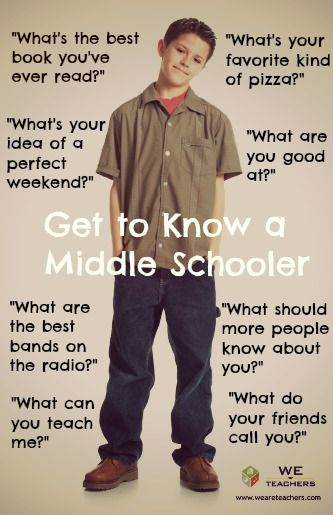 "This pin links to conversational prompts designed to ""Get to Know a Middle Schooler,"" such as ""What can you teach me?"" These conversation starters, along with therapeutic use of self, can help bridge the generation gap to create an authentic professional relationship with the adolescent client."