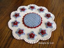 """""""All Wool Patriotic Star Primitive"""" ~ 11"""" Penny Rug ~ Candle Mat ~ Americana"""