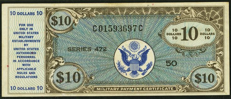 10 Dollars United States Military Payment Certificate, Series 472  Front depicts the United States Army Seal. Back vignette has another depiction of the United States Army Seal. Front of all notes black with blue underprint. Back of all notes is brown. There was only one print run for the series 472 ten dollar military payment certificate. This also happens to be the highest denomination from the series.