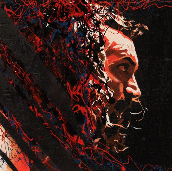 Acrylic, oil and spray on 24″ x 24″ wood    Bruiser Brody aka King Kong Brody