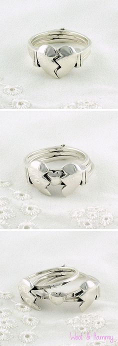 This split heart ring opens up to reveal a tiny surprise! Three-part ring is made of pure sterling silver.