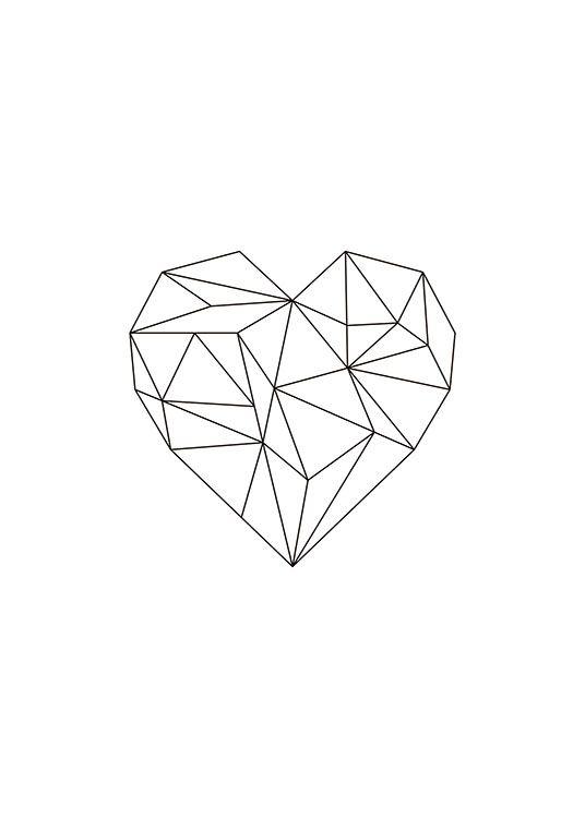 Print met geometrisch hart in zwart