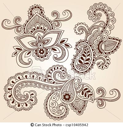 Vector - Henna Doodles Mehndi Tattoo Designs - stock illustration, royalty free illustrations, stock clip art icon, stock clipart icons, logo, line art, EPS picture, pictures, graphic, graphics, drawing, drawings, vector image, artwork, EPS vector art