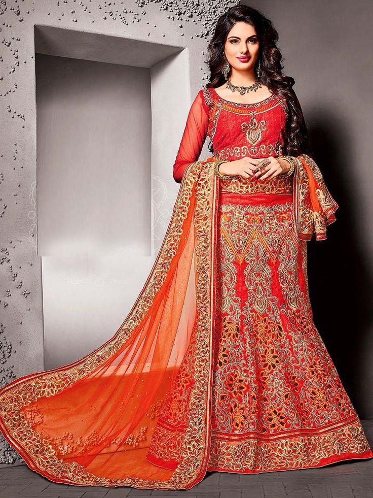 Красная длинная юбка в пол   короткая блузка с рукавам три четверти   оранжевая накидка