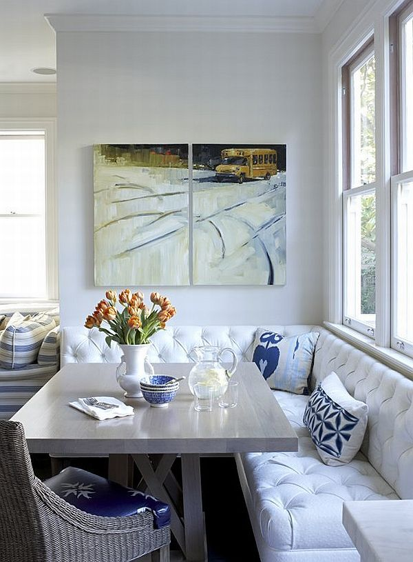 Breakfast nook bench seating kitchen traditional with window seating blue  accessories wooden table