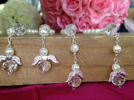 24 baptism favors/ ivory color with angels/ by WEDDINGLASSOS, $23.00