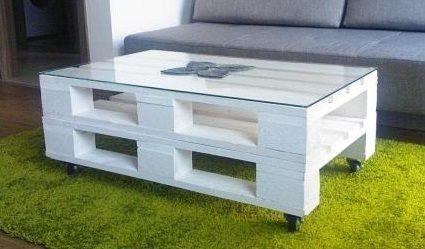 Couchtische - Palettentisch-Couchtisch-Shabby Chic-Palettenmöbel - ein Designerstück von obstkisten-online-de bei DaWanda
